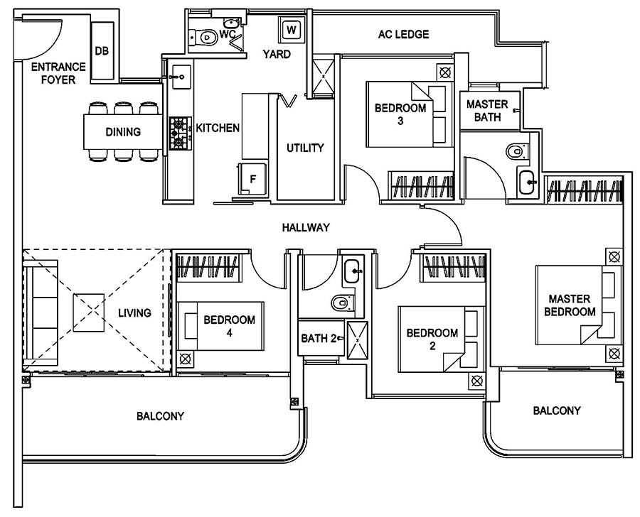 Hundred Palms Residences Condo Singapore 4 Bedroom Floor Plan
