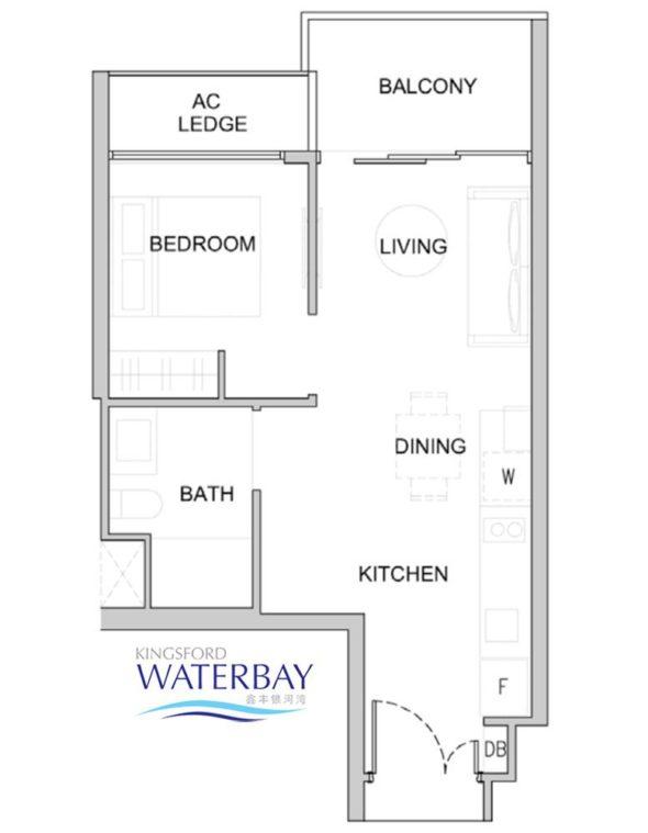 Kingsford WaterBay Condo Singapore Floor Plan 1 Bedroom