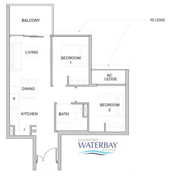 Kingsford WaterBay Condo Singapore Floor Plan 2 Bedroom