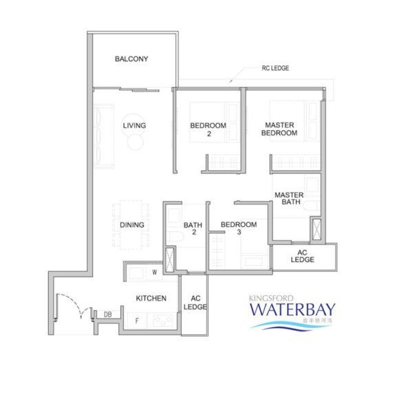 Kingsford WaterBay Condo Singapore Floor Plan 3 Bedroom