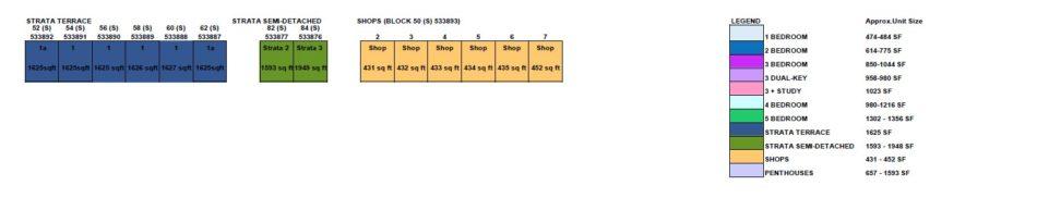 Kingsford Waterbay Floorplan Elevation Chart Legend