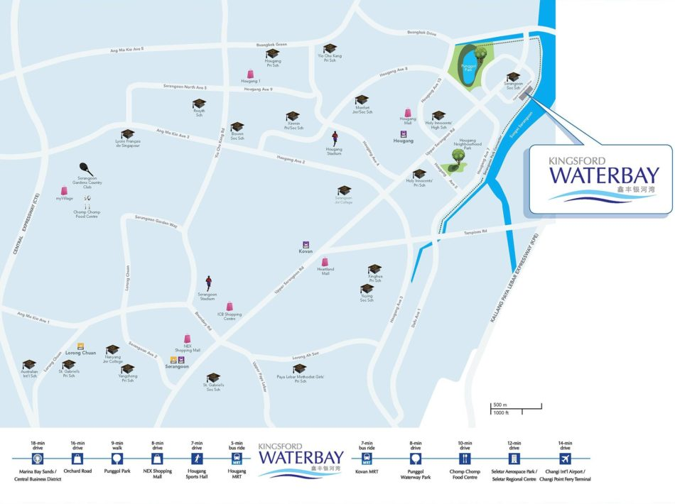 Kingsford WaterBay Condo Singapore Location Map with Amenities