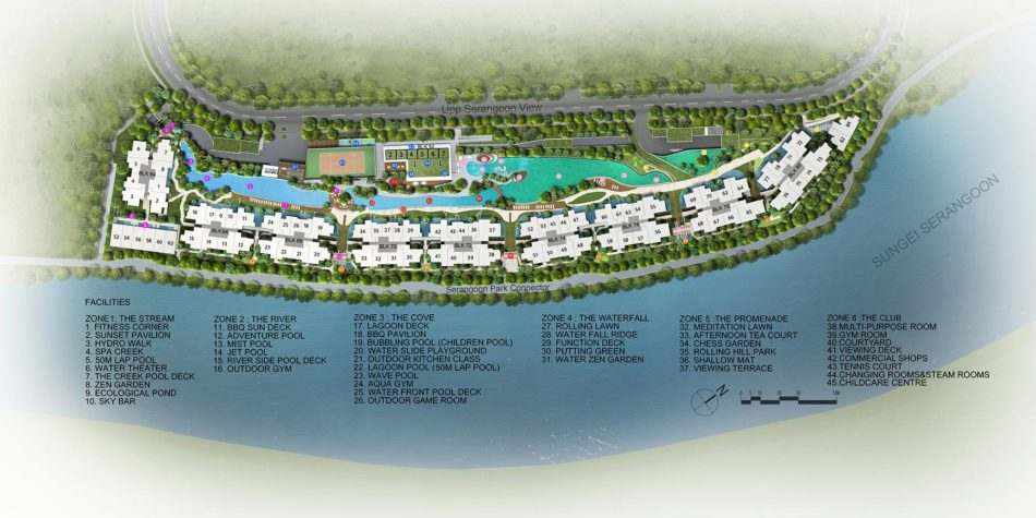Kingsford WaterBay Condo Singapore Site Map with Amenities